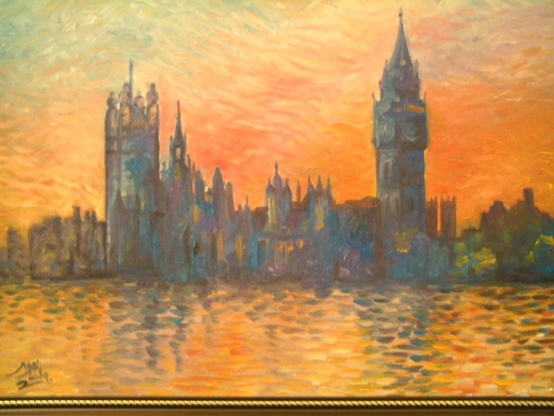 A brit parlament épületéről készült festmény