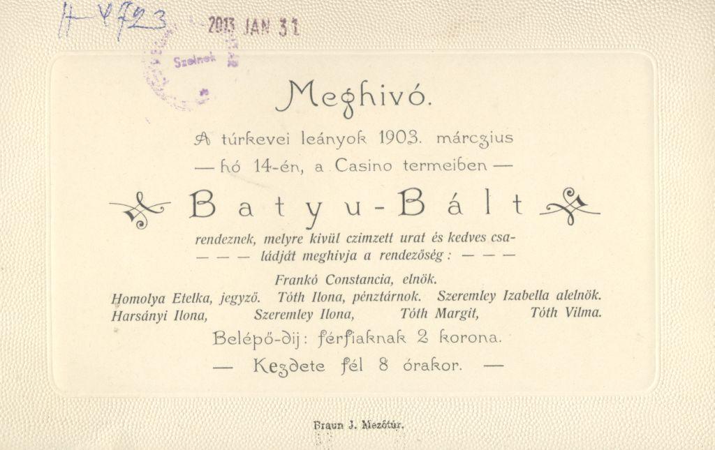 """A túrkevei leányok meghívója a """"Batyu Bál""""-ra."""