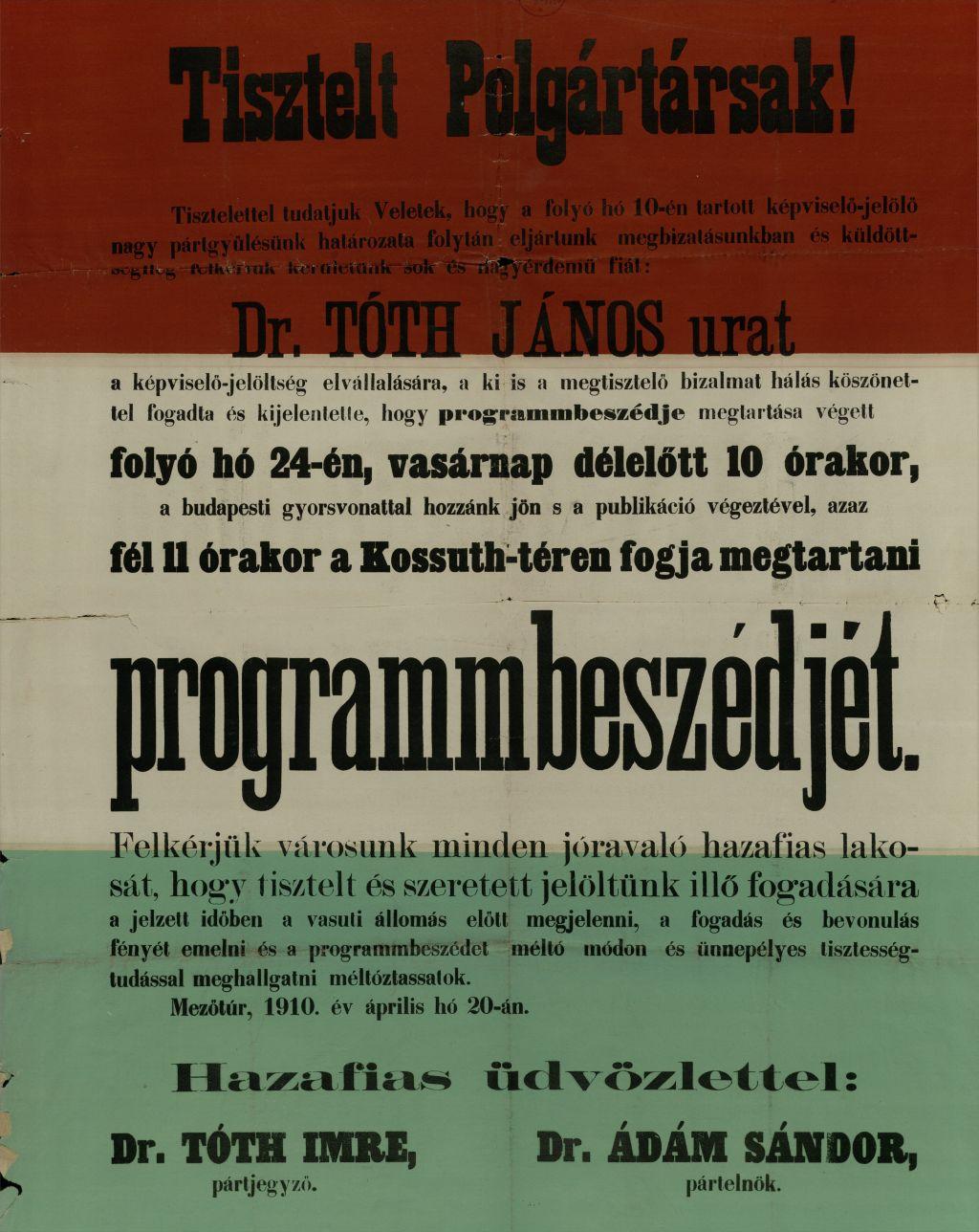 Dr. Tóth János programbeszéde