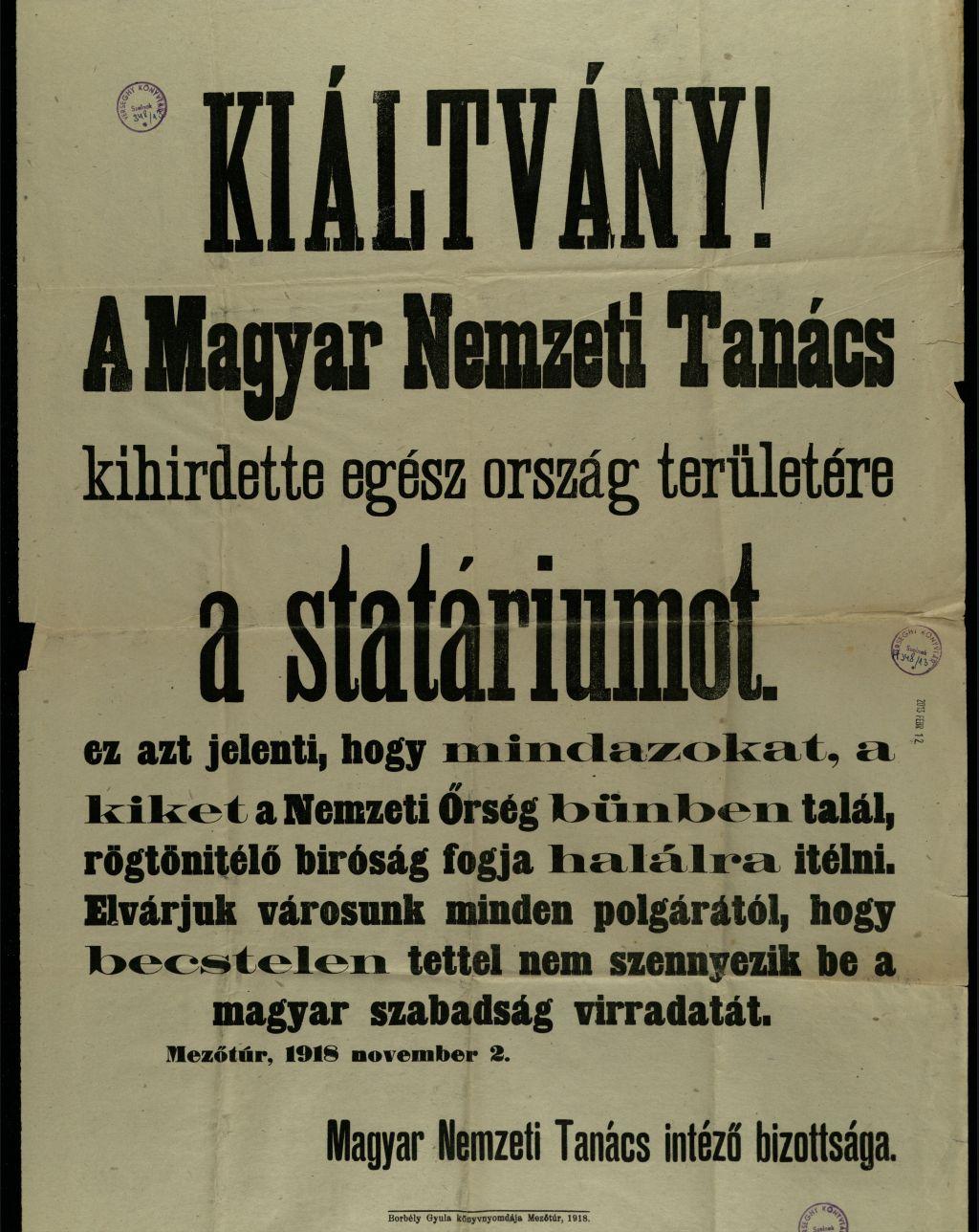 Magyar Nemzeti Tanács statáriumot hirdetett ki