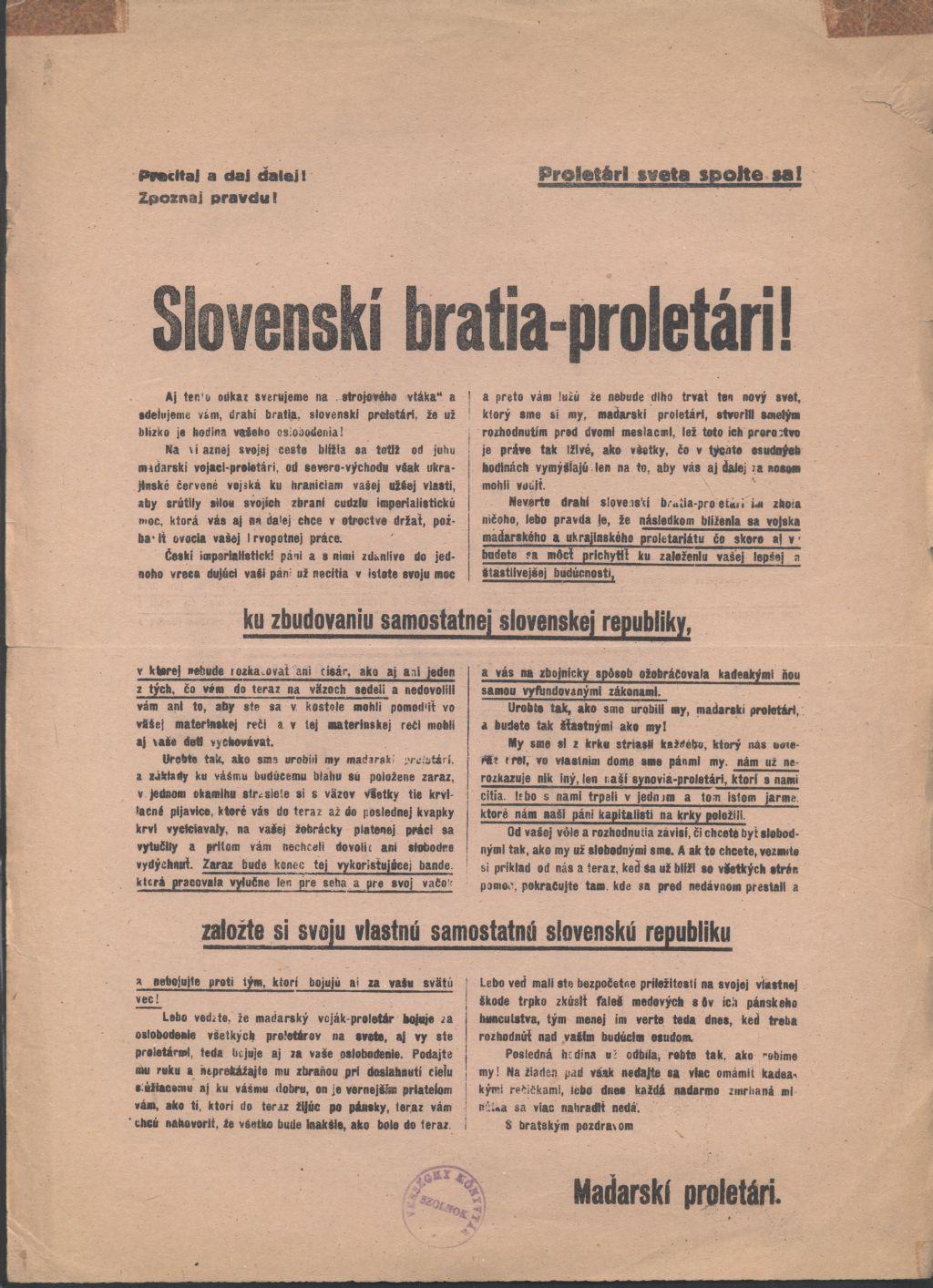 Slovenskí bratia-proletári! Röpirat a független Szlovák Köztársaság kiépítése céljából