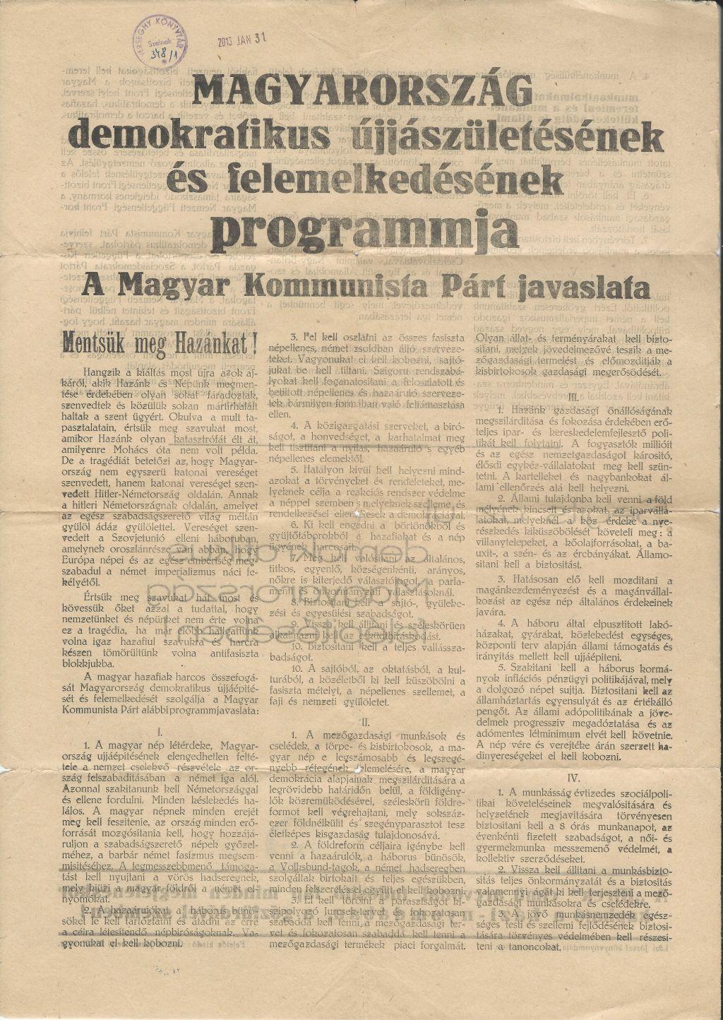 Magyarország demokratikus újjászületésének és felemelkedésének programja. Az MKP javaslata
