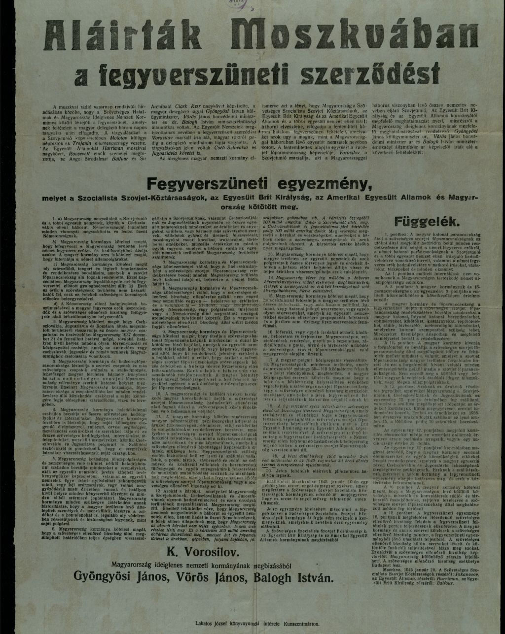 Aláírták Moszkvában a fegyverszüneti szerződést