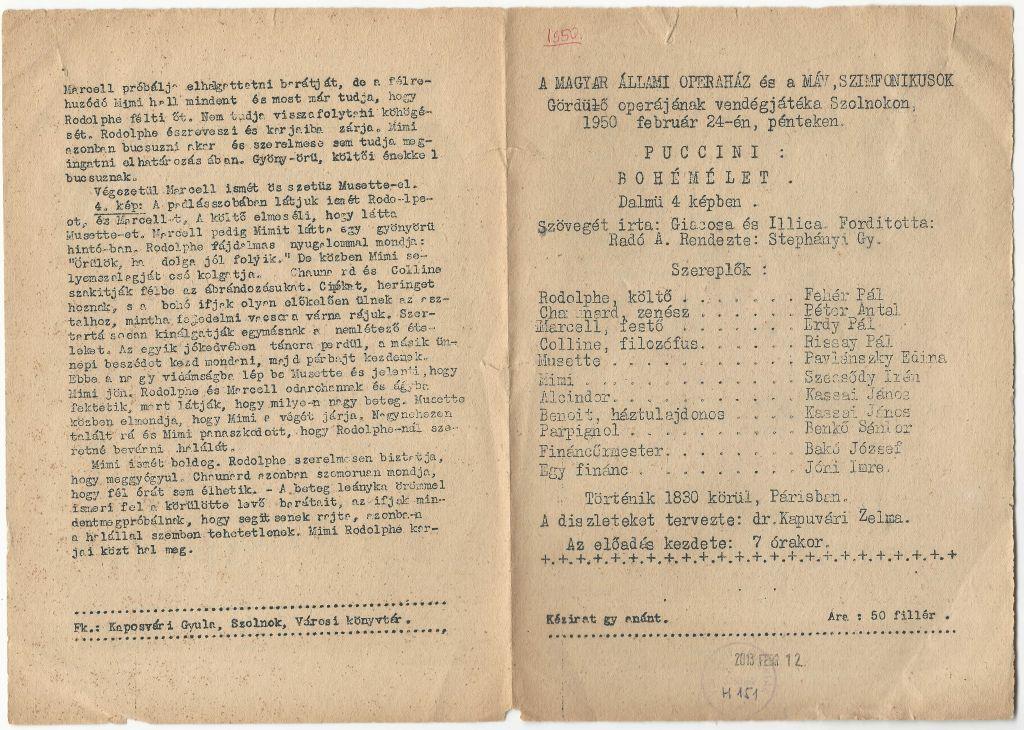 """A Magyar Állami Operaház és a MÁV. Szimfonikusok """"Gördülő"""" operájának vendégjátéka"""