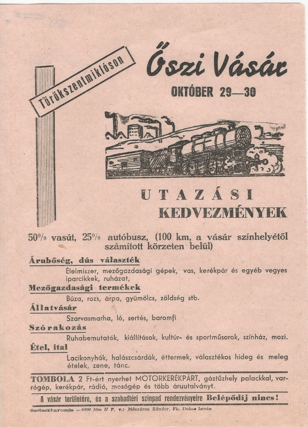 Őszi Vásár Törökszentmiklóson 1955. október 29-30-án.