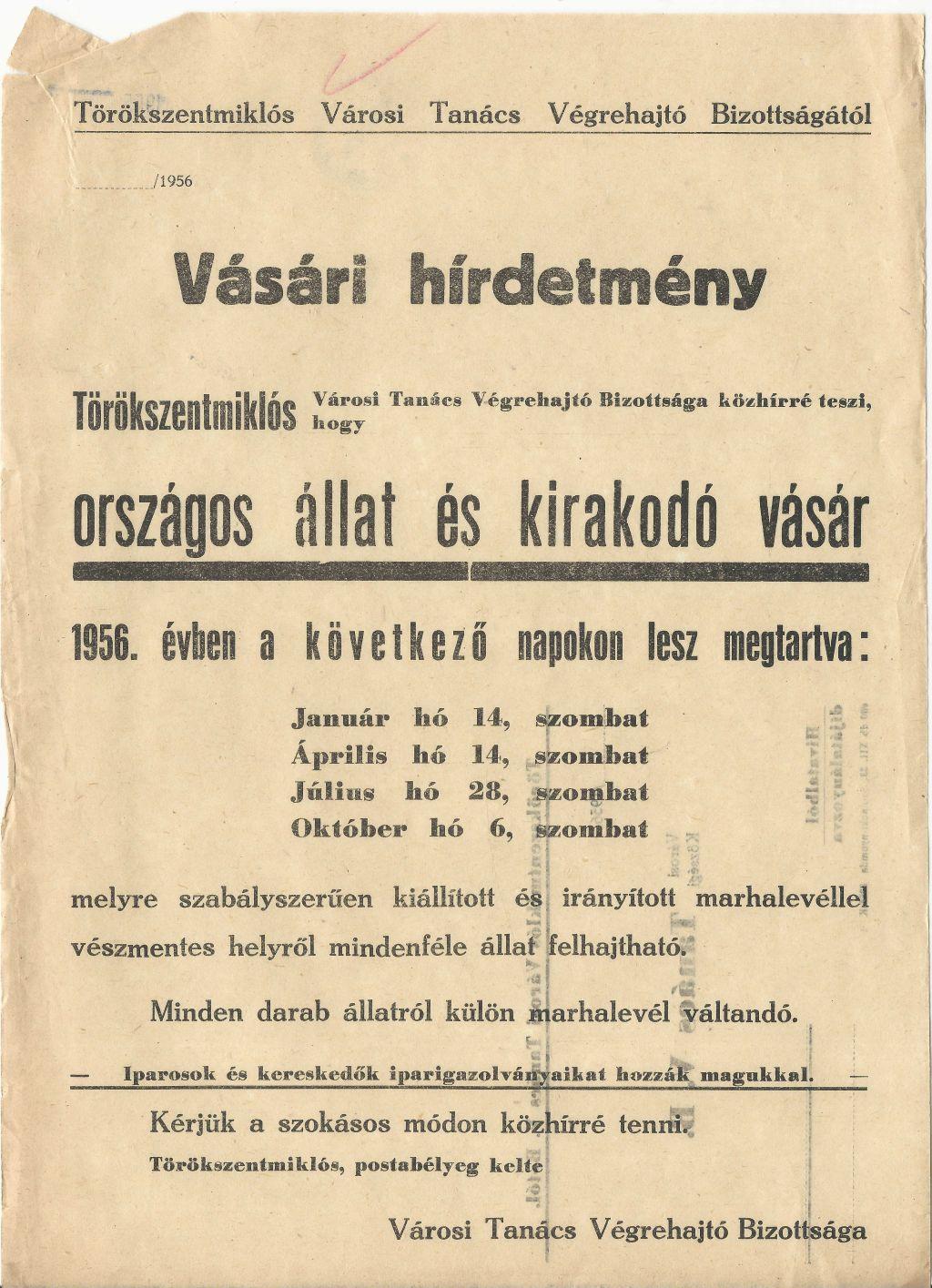 Vásári hirdetmény! Törökszentmiklóson országos állat- és kirakodóvásár lesz 1956. január 14-én, április 14-én, július 28-án, október 6-án