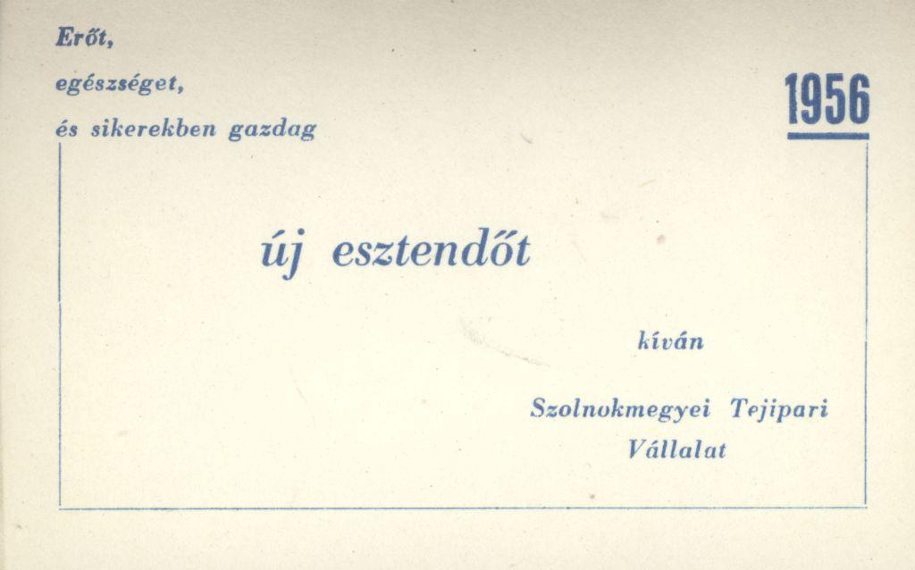 Szolnok megyei Tejipari Vállalat Újévi köszöntő kártyája