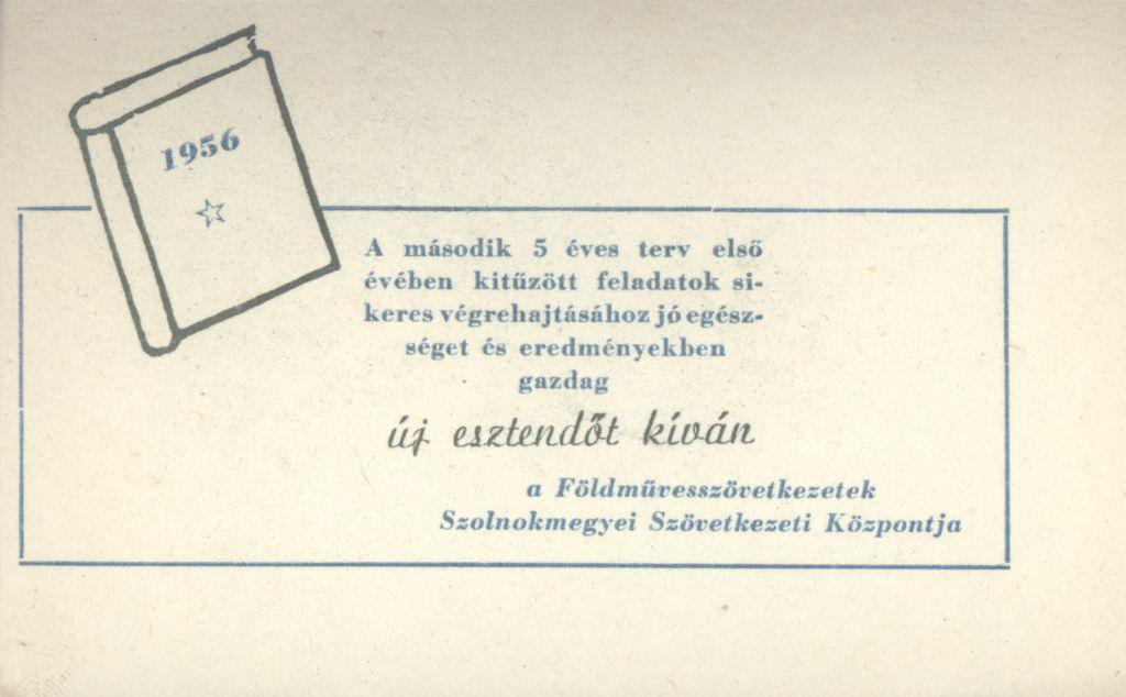 Földművesszövetkezetek Szolnok megyei Szövetkezeti Központjának Újévi köszöntő kártyája