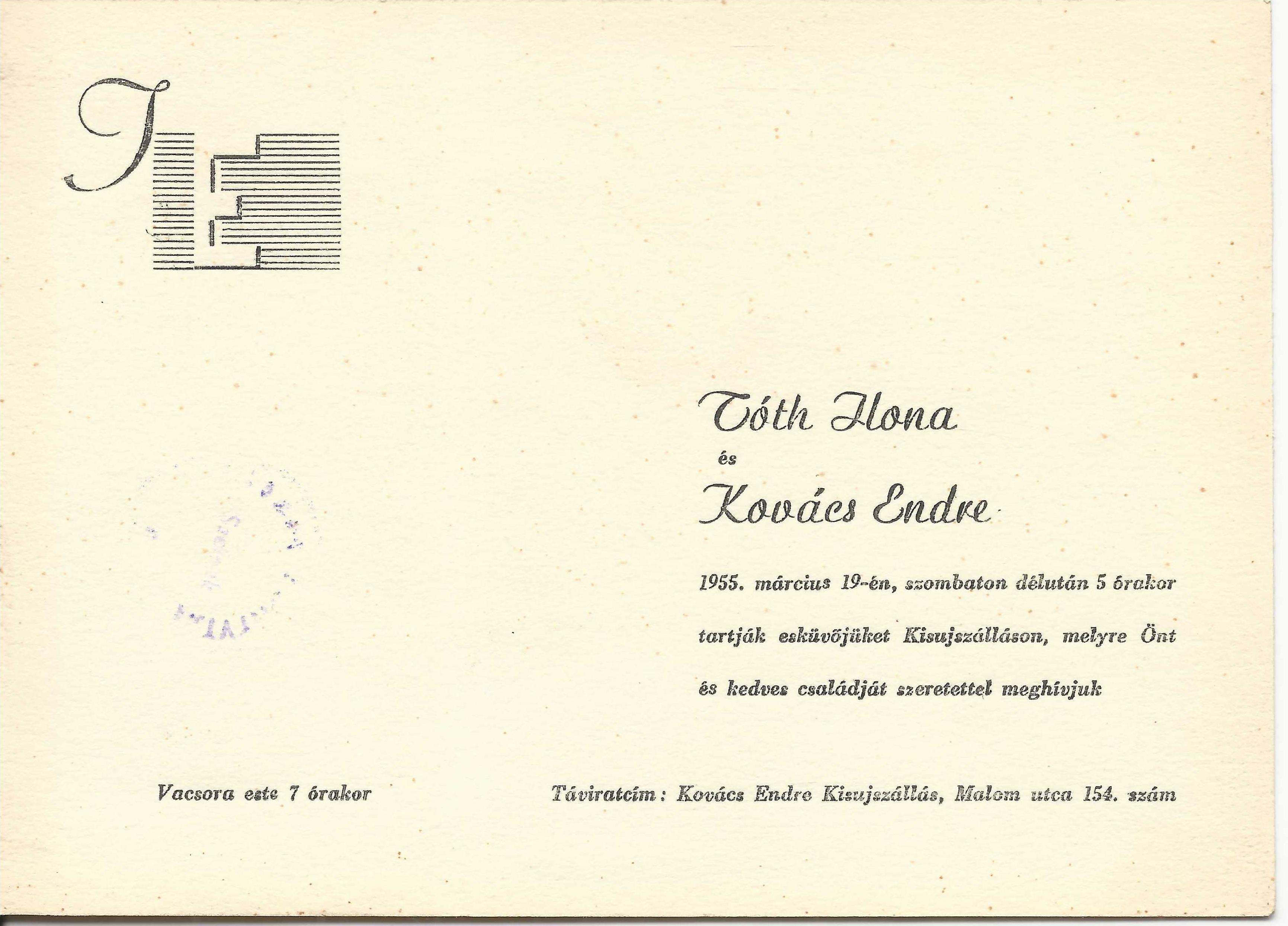 Tóth Ilona és Kovács Endre esküvői meghívója