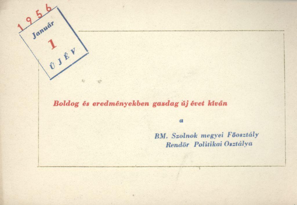 BM. Szolnok megyei Főosztály Rendőr Politikai Osztályának Újévi köszöntő kártyája