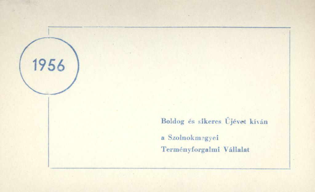 Szolnok megyei Terményforgalmi Vállalat Újévi köszöntő kártyája