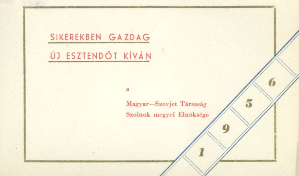 Magyar-Szovjet Társaság Szolnok megyei Elnökségének Újévi köszöntő kártyája