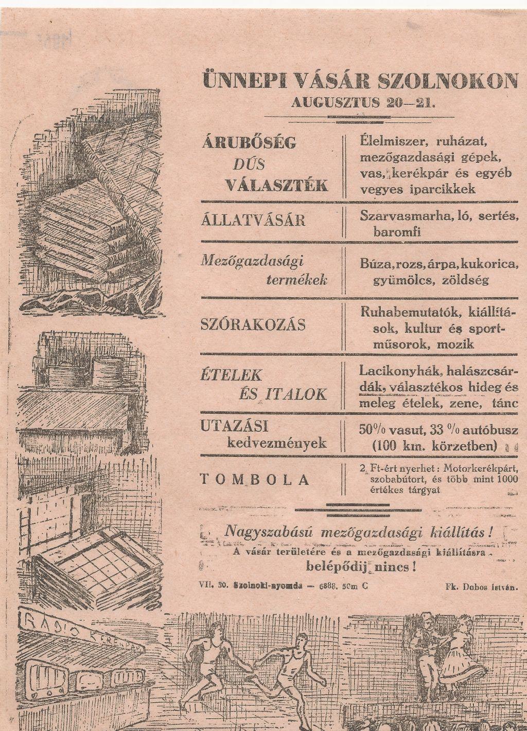 Ünnepi Vásár Szolnokon 1955. augusztus 20-21-én