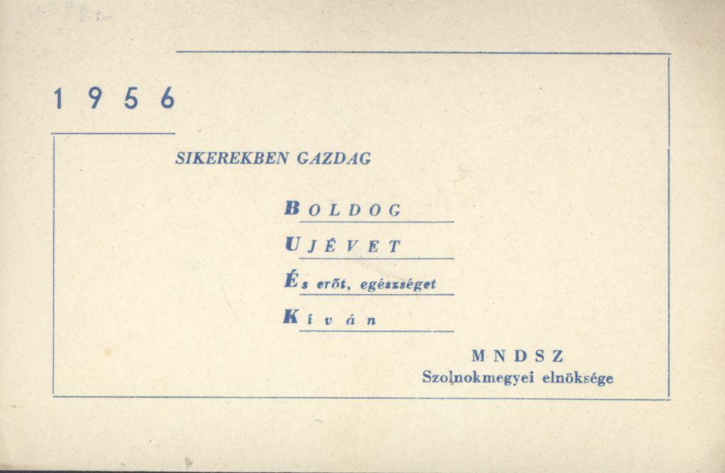 MNDSZ Szolnok megyei elnökségének Újévi köszöntő kártyája