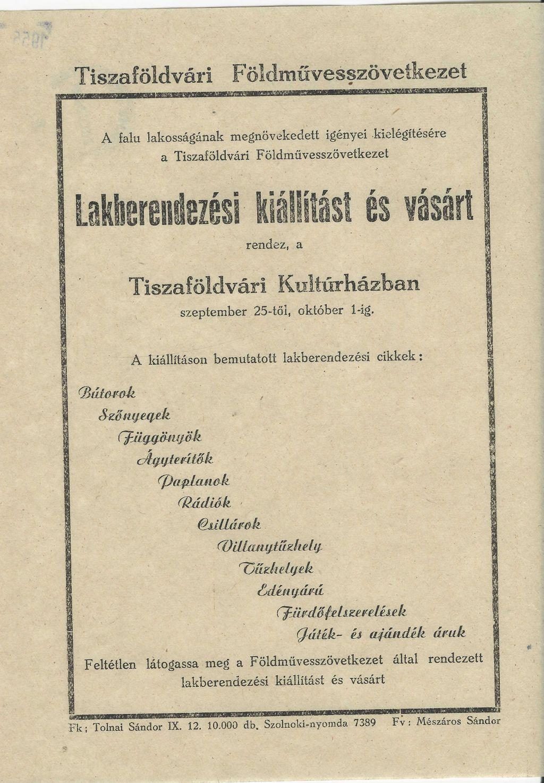 Tiszaföldvári Földművesszövetkezet lakberendezési kiállítást és vásárt rendez 1955. szeptember 25-től október 1-ig.