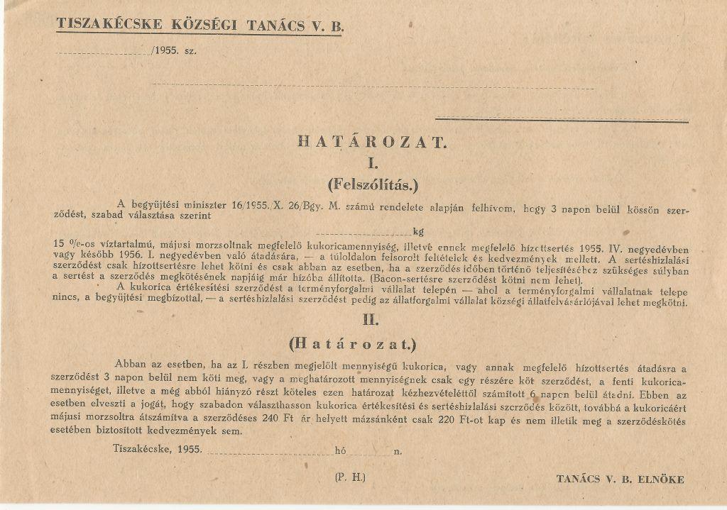 Tiszakécske Községi Tanács V.B. Határozata