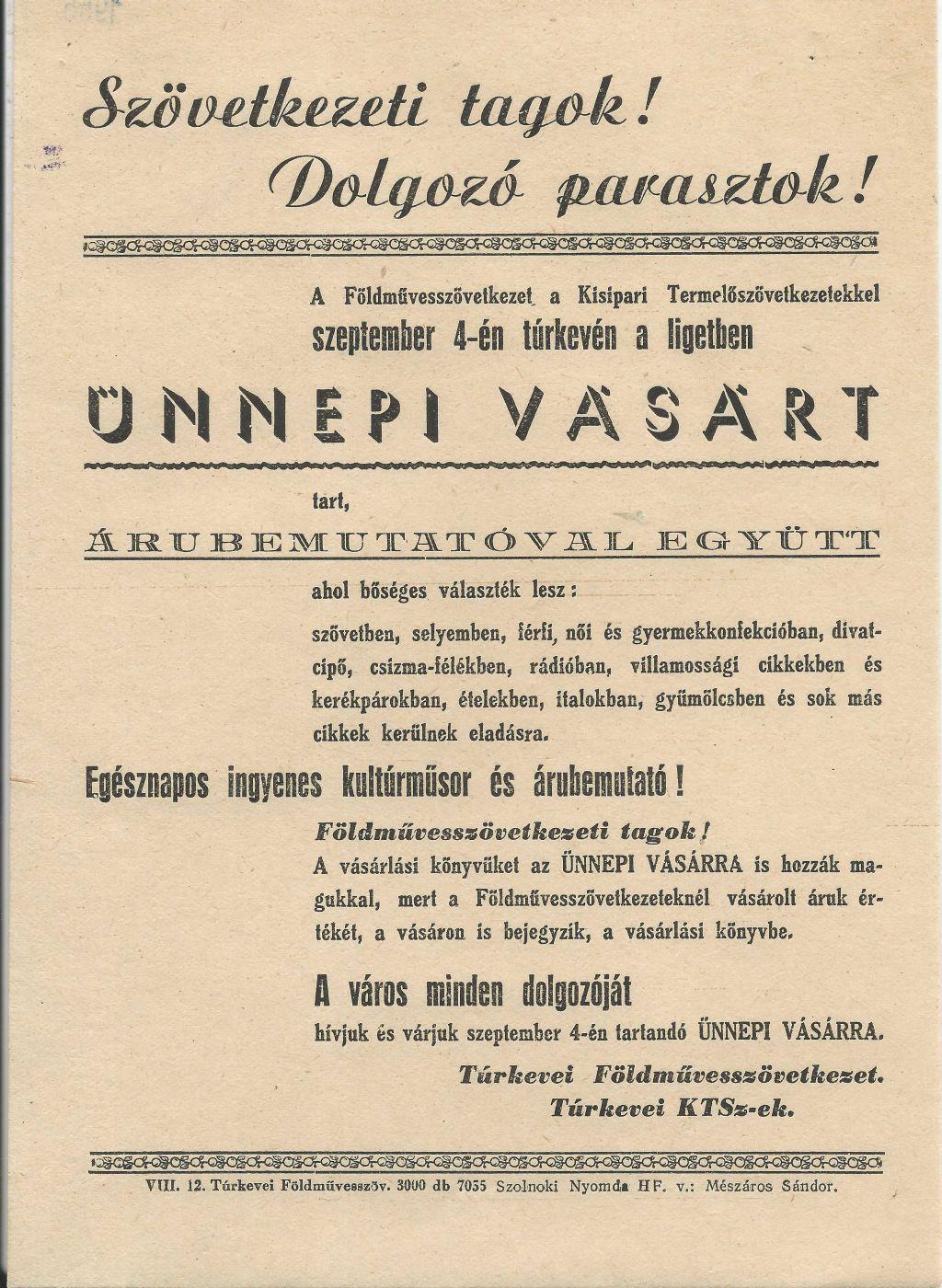 Ünnepi Vásár Túrkevén 1955. szeptember 3-án.
