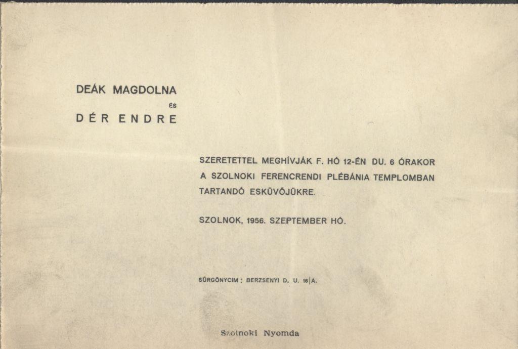 Deák Magdolna és Dér Endre esküvői meghívója