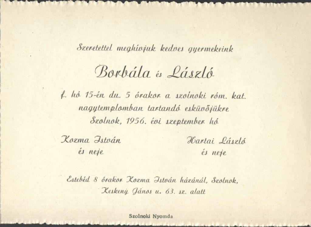 Kozma Borbála és Hartai László esküvői meghívója