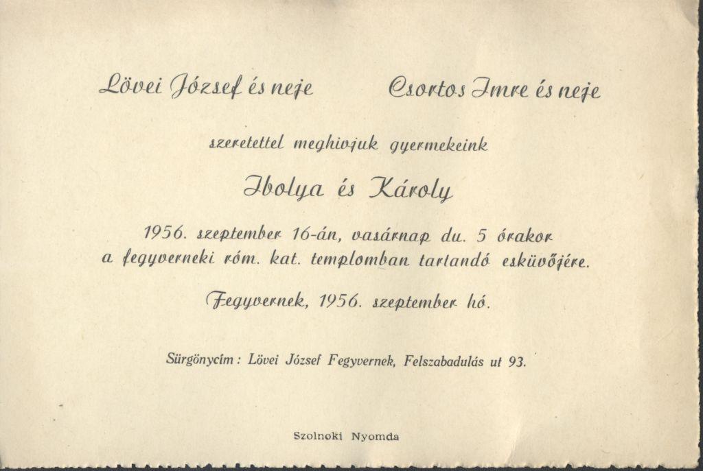 Ibolya és Károly esküvői meghívója