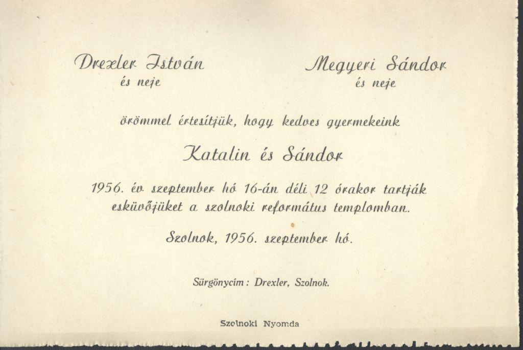 Drexler Katalin és Megyeri Sándor esküvői meghívója
