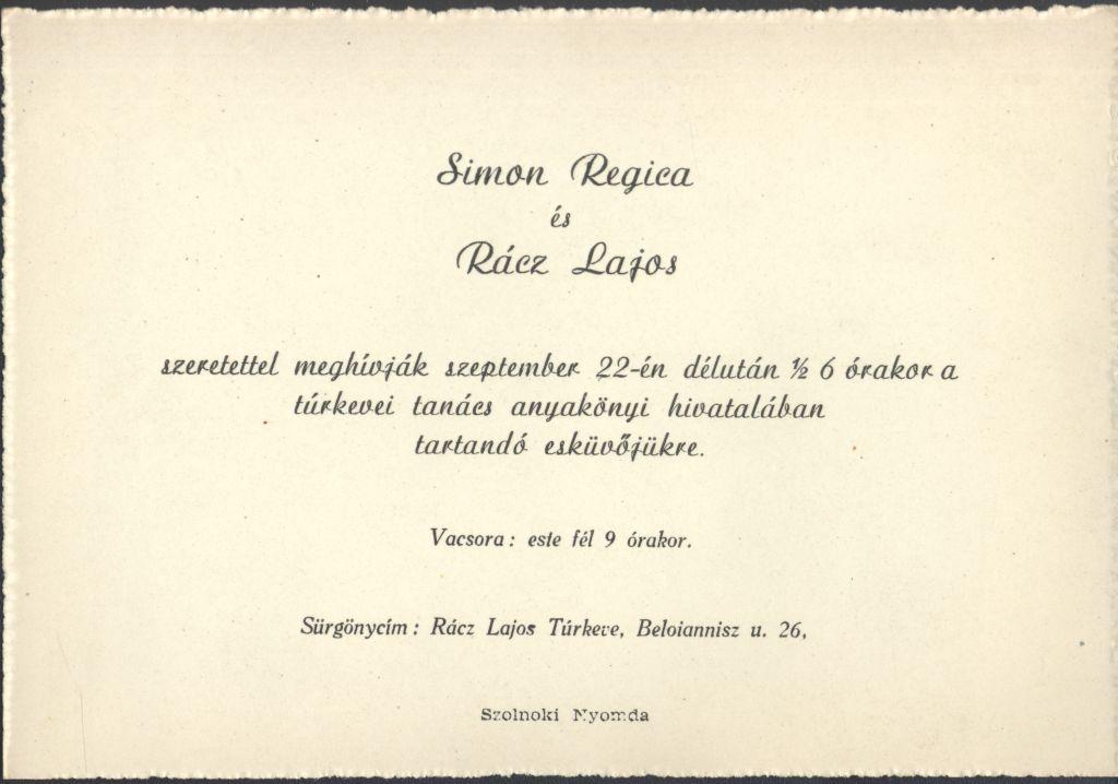 Simon Regina és Rácz Lajos esküvői meghívója
