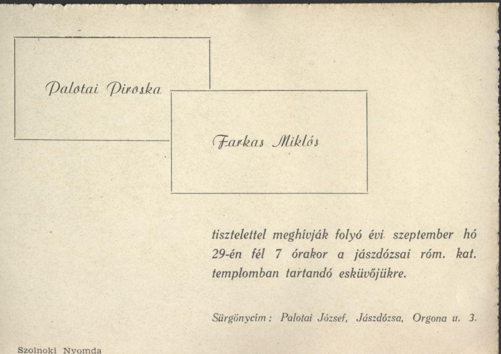 Palotai Piroska és Farkas Miklós esküvői meghívója