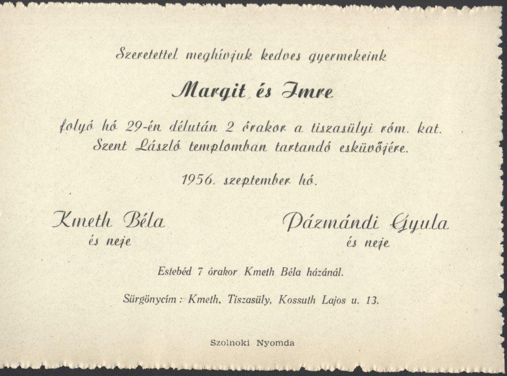 Margit és Imre esküvői meghívója