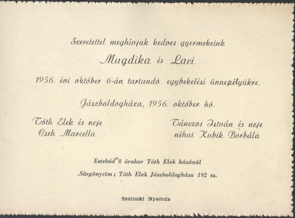 Magdika és Laci esküvői meghívója