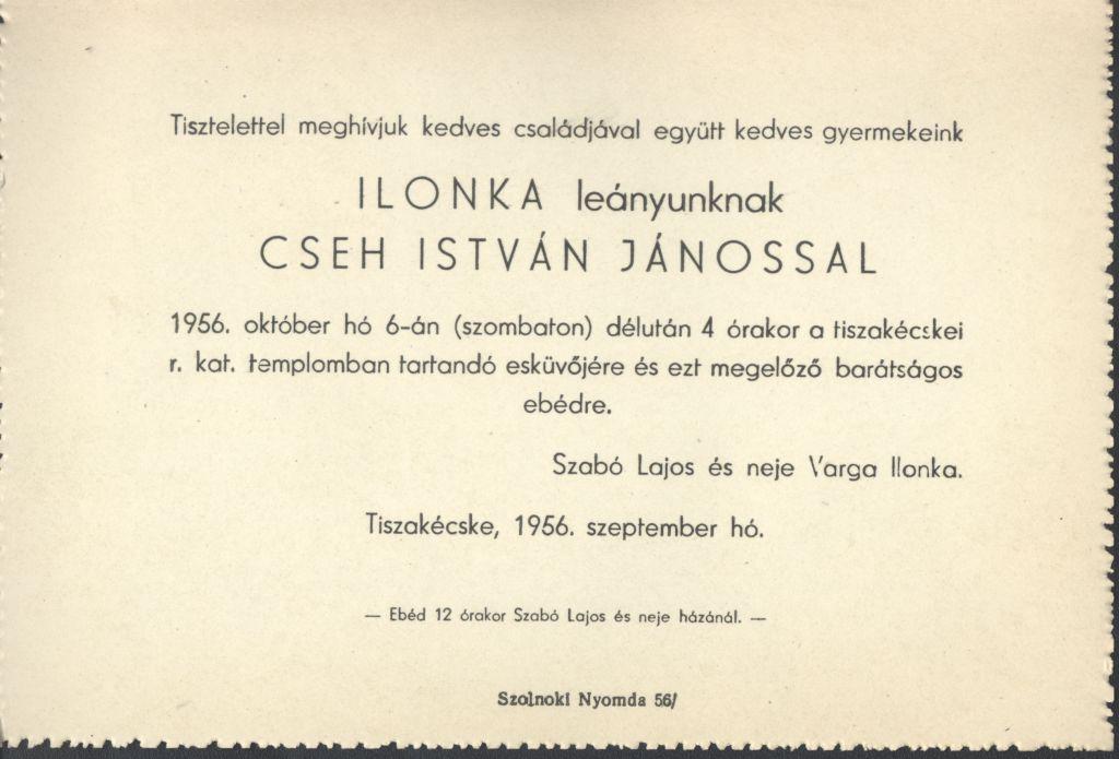 Cseh István János és Szabó Roza Ilonka esküvői meghívója