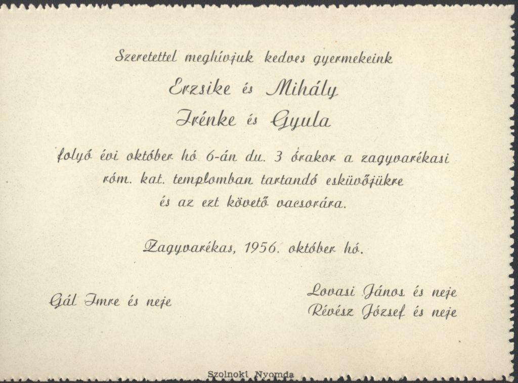 Erzsike és Mihály, Irénke és Gyula esküvői meghívója