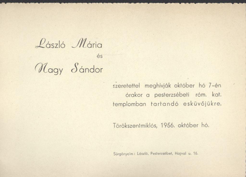 László Mária és Nagy Sándor esküvői meghívója
