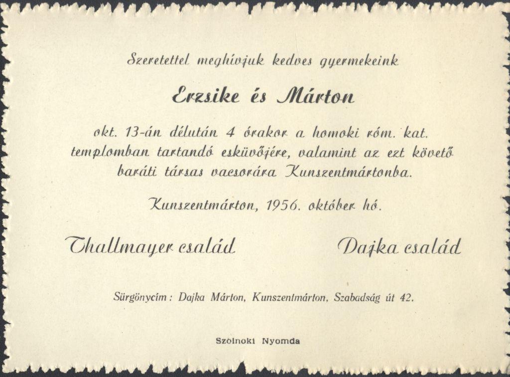 Thallmayer Erzsike és Dajka Márton esküvői meghívója