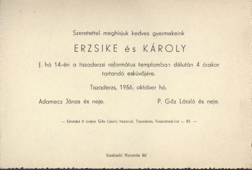 Erzsike és Károly esküvői meghívója