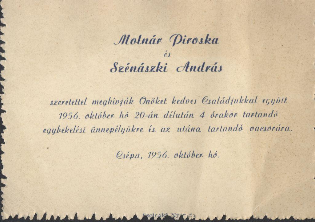 Molnár Piroska és Szénászki András esküvői meghívója