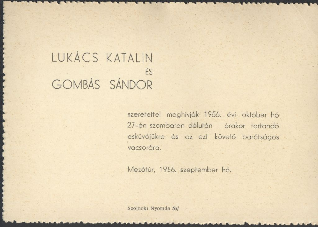 Lukács Katalin és Gombás Sándor esküvői meghívója