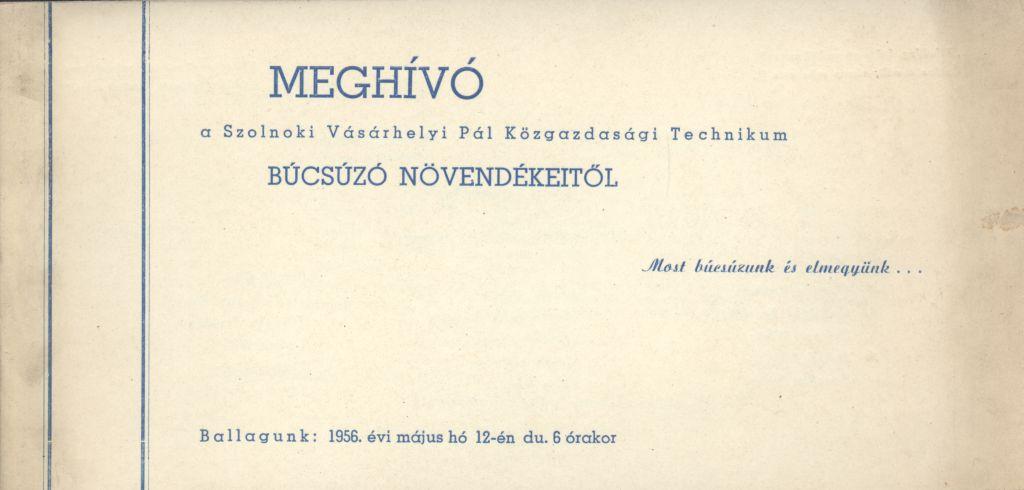 A szolnoki Vásárhelyi Pál Közgazdasági Technikum Ballagási meghívója