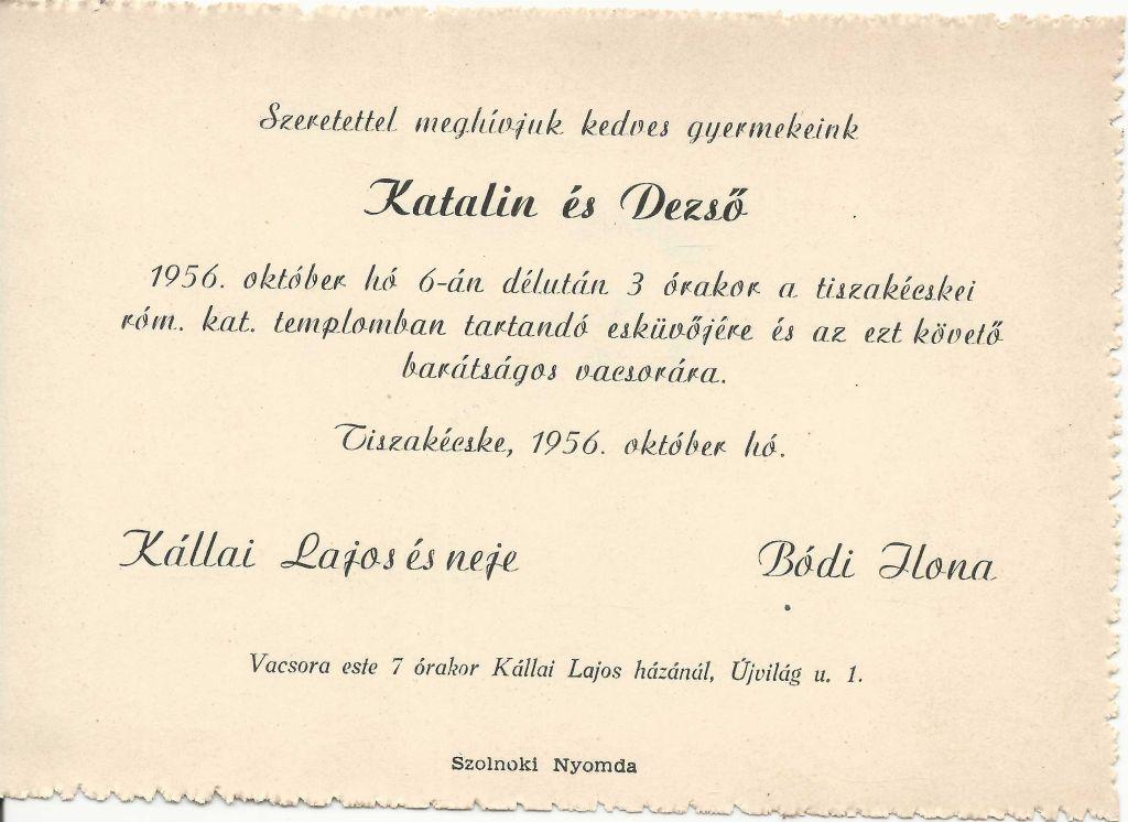 Katalin és Dezső esküvői meghívója