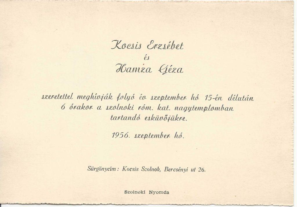 Kocsis Erzsébet és Hamza Géza esküvői meghívója