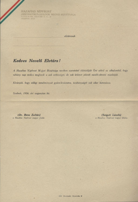 Hazafias Népfront üdvözlő levele