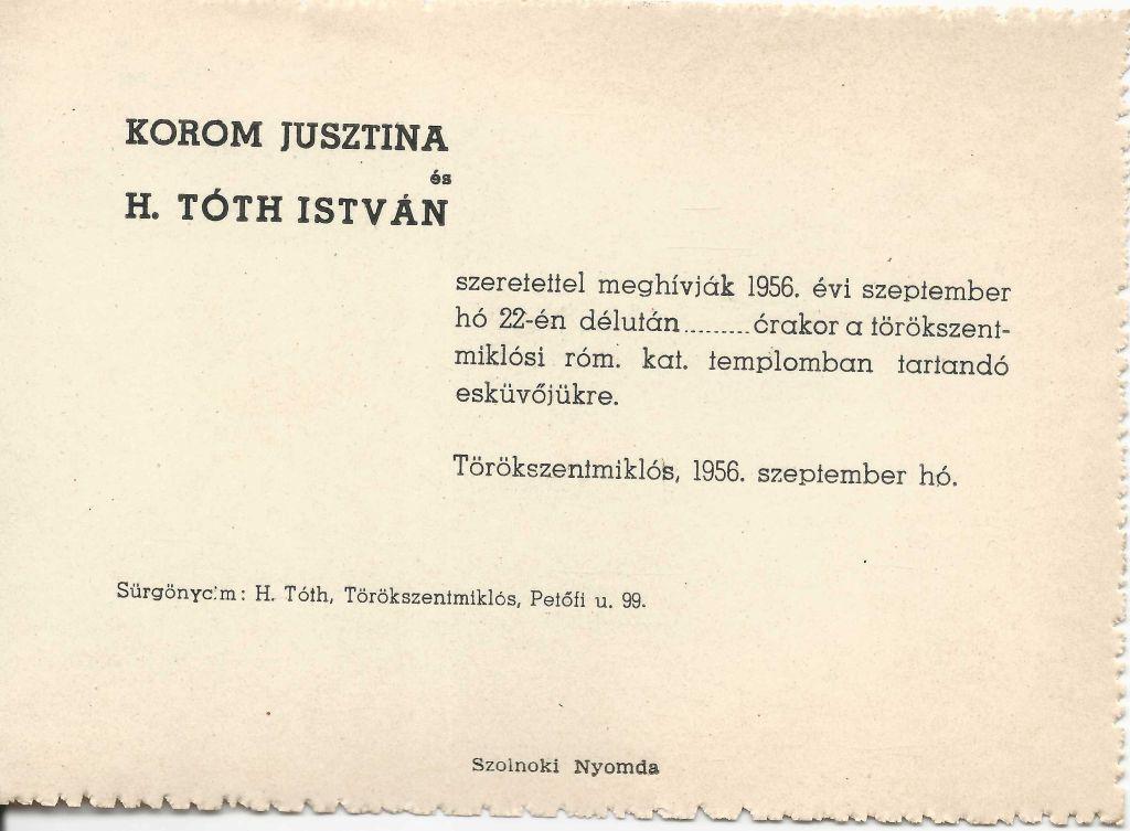 Korom Jusztina és H. Tóth István esküvői meghívója