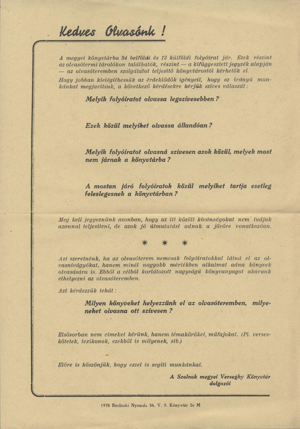 Verseghy Ferenc könyvtár tájékoztatója