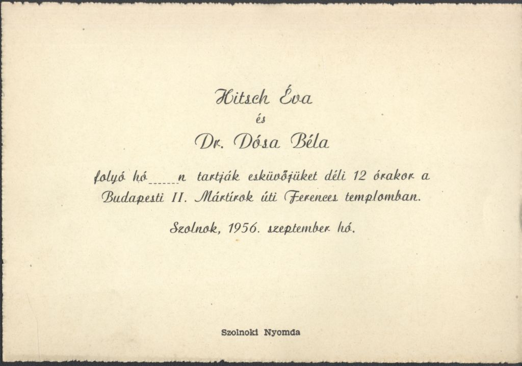 Hitsch Éva és Dr. Dósa Béla esküvői meghívója