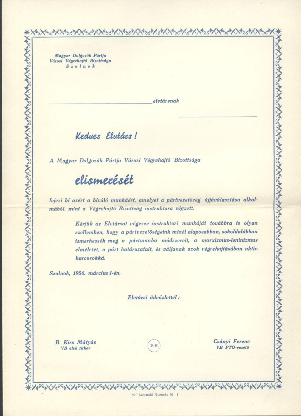 MDP városi Végrehajtó Bizottságának elismerése