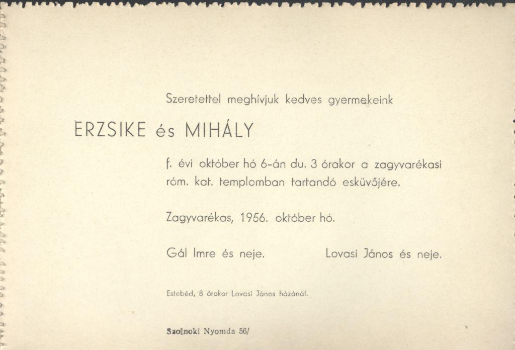 Erzsike és Mihály esküvői meghívója