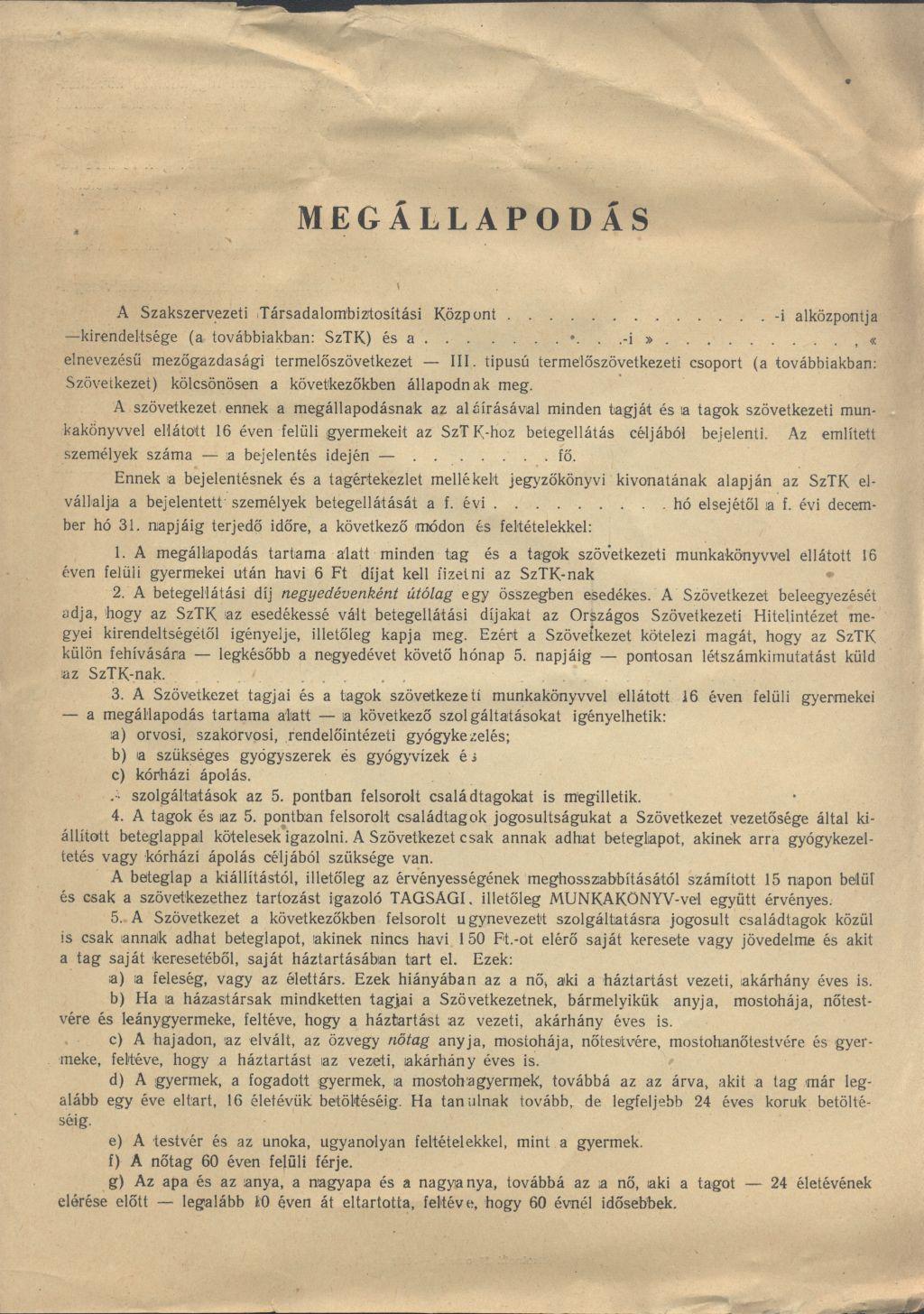 SZTK-Termelőszövetkezet közötti megállapodás