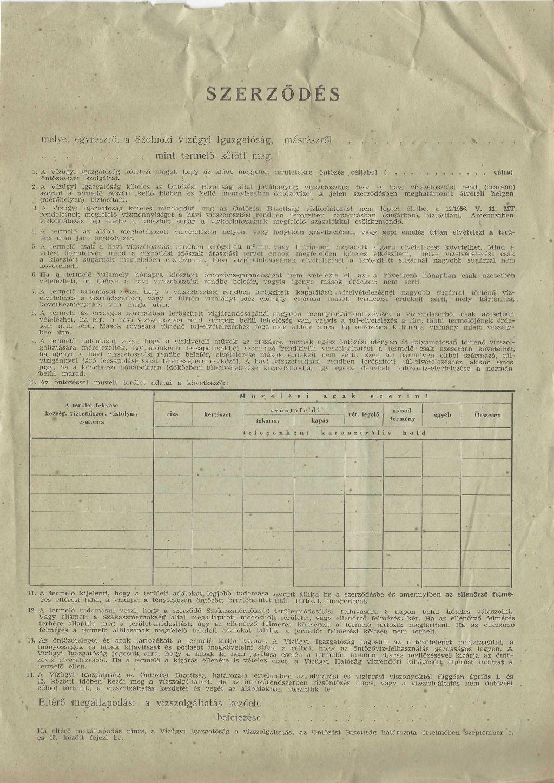 A szolnoki Vízügyi Igazgatóság szerződésmintája