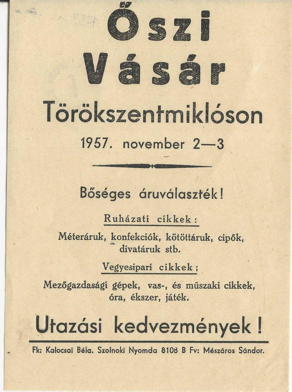 Őszi vásár Törökszentmiklóson 1957. november 2-3. között