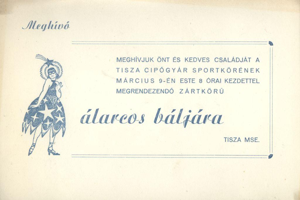 Meghívó a Tisza Cipőgyár Sportkörének zártkörű álarcos báljára