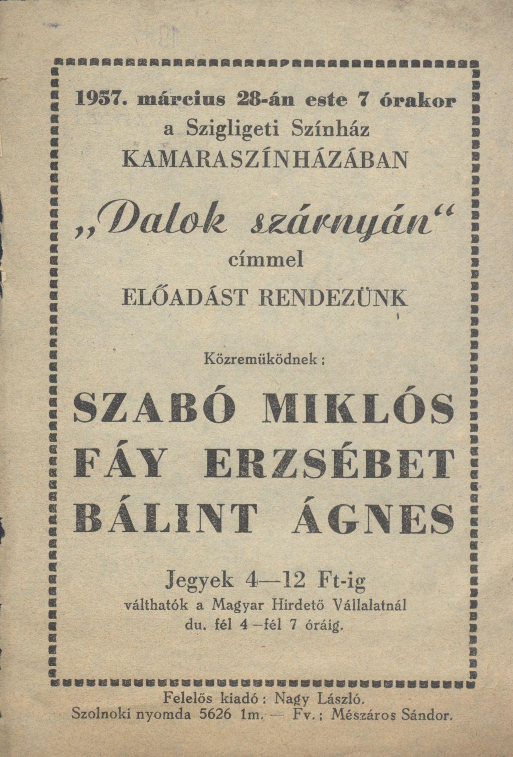 """Szigligeti Színház """"Dalok szárnyán"""" előadása"""